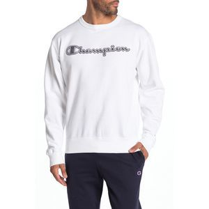 Champion White Powerblend  Logo Fleece Sweatshirt